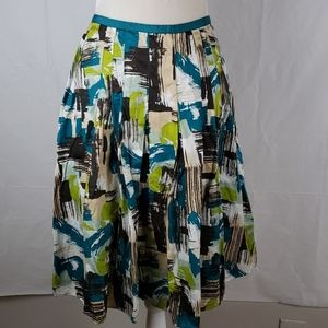 Liz Claiborne Cotton Skirt VGUC 10 Browns & Teal